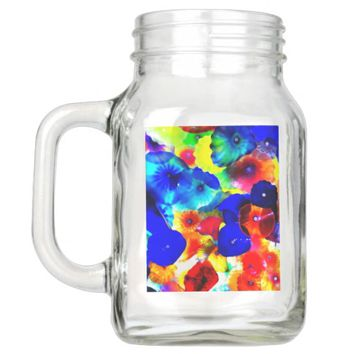 COLORFUL 20 OZ MASON JAR WITH HANDLE