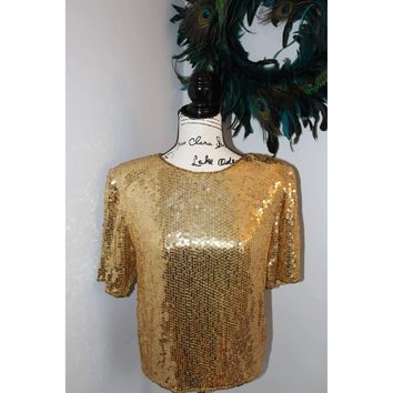 Authentic Vintage Gold Sequin Top from the 70's-Claudia Barnes