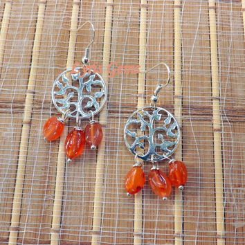 50%OFF SALE Tree of Life Earrings - Carnelian Jewelry - Tree Jewelry - Charm Earrings - Orange Earrings - Tree Earrings