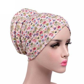 Fashion Floral Printed Beanie Hat 2017 Fashion New Arrival Women Cancer Chemo Hat Scarf Turban Head Wrap Cap