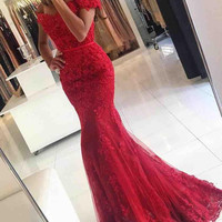 Off Shoulder Red Mermaid Long Prom Dresses Evening Dresses