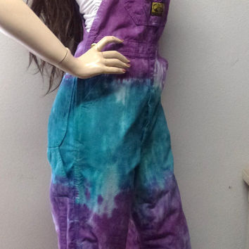 Awesome Tie Dye Cotton Overalls Vtg 70's Washington Dee Cee Festival BOHO Hippie-  Sz X-Small