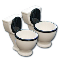 Toilet Bowl 2 Piece Shot Glass Set (White)