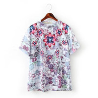 Summer Stylish Women's Fashion Gemstone Print Round-neck T-shirts [6049286593]