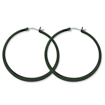 Stainless Steel Black IP plated 55mm Hoop Earrings SRE417