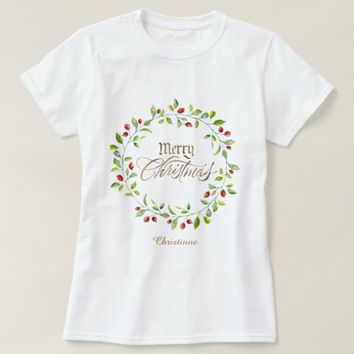 Winter Red Berries Wreath Gold Merry Christmas T-Shirt