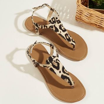 Leopard Pattern Toe Post Flat Sandals