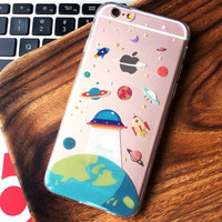 Cartoon Cute UFO Astronaut Spaceship iPhone 7 7 Plus + iPhone 6 6s Plus Case -0320