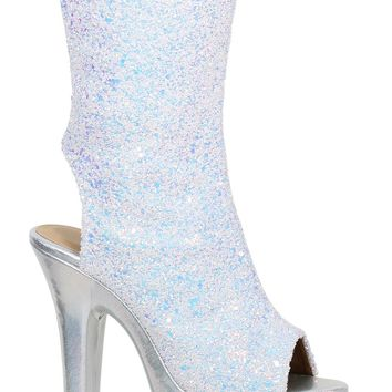 White Glitter Ankle Boot 7 Inch Heels Stripper Boots
