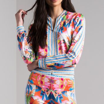 AKIRA Long Sleeve Zip Up Floral Printed Track Top in Off White Multi