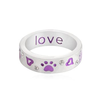 Unconditional Love Dog Paw Prints Ring