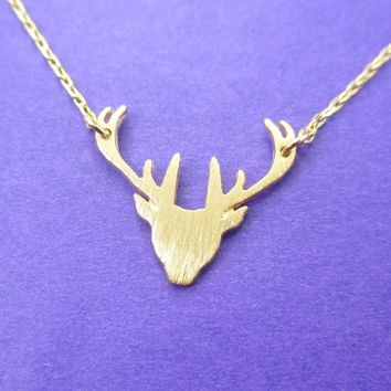 Stag Deer Doe Silhouette Shaped Pendant Necklace in Gold   Animal Jewelry