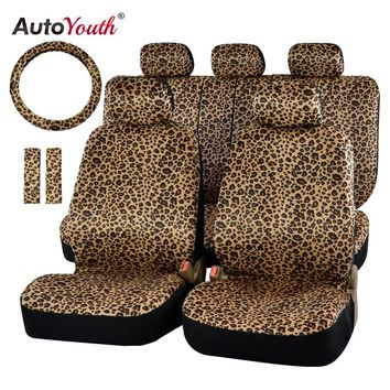 "Leopard Print Car Seat Cover Set - Universal Fit - 15"" Steering Wheel Cover"