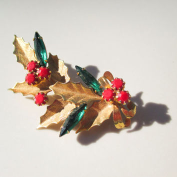 Christmas Holly with Ruby Berry and Emeral Leaf Brooch Pin Vintage xmas jewelry