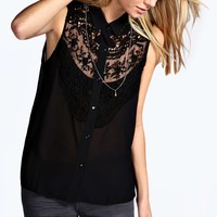 Darcey Crochet Lace Bib Front Sheer Sleeveless Shirt