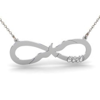 Sterling Silver Seagul Initials Infinity Necklace