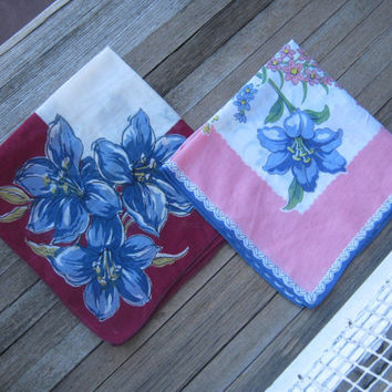 Gorgeous 1950s Floral Hankies - Blue Flower/Pink Border Hankie or Blue Flower Open Center Burgundy Hankie - Vintage Wedding Handkerchiefs