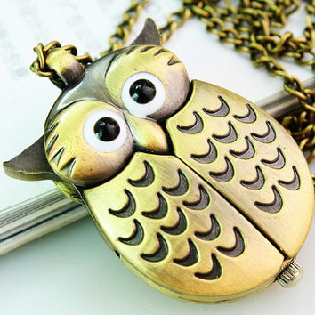 lovely owl wings can open vintage Bronze pocket watch necklace pendant, Charm handmand DIY accessories