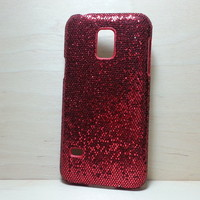 For Samsung Galaxy S5 Mini Red Glitter Case