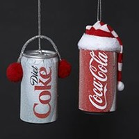 COCA-COLA CAN WITH HAT & DIET COKE CAN WITH EAR MUFFS ORNAMENTS