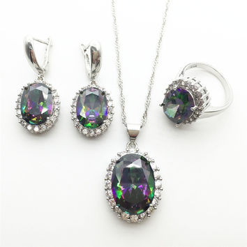 Rainbow White Zircon Stones Silver Jewelry Sets For Women Necklace Pendant Drop Earrings Rings Free shipping