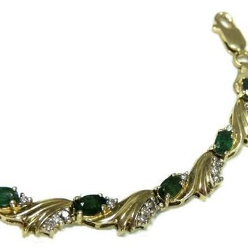 14k Emerald Diamond Tennis Bracelet Heavy Gold Setting 14.8g