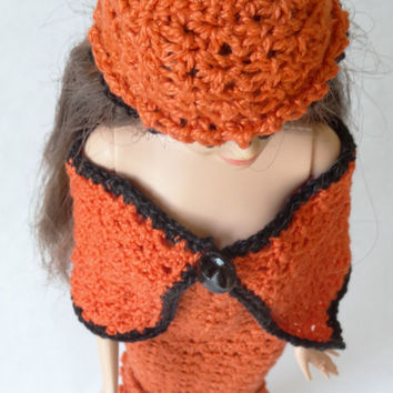 Handmade Barbie Doll Clothes - Miniature Orange Doll Hat and Cape, Good Prizes for Barbie Birthday Party
