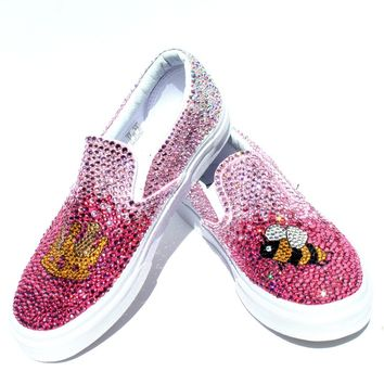 """Pink Ombre """"Queen Bee"""" Crystal Shoes"""