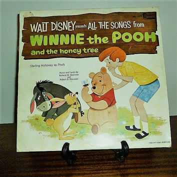 Vintage 1965 Walt Disney Presents All the Songs from Winnie the Pooh and the Honey Tree LP Vinyl Record / Disneyland Records / Retro Record