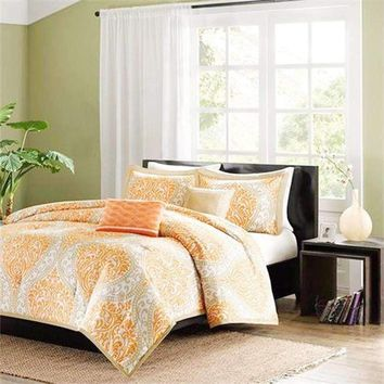 California King size 5-Piece Comforter Set in Orange Damask Print