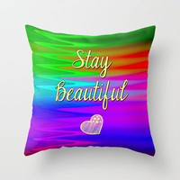 Stay Beautiful Throw Pillow by Alice Gosling | Society6