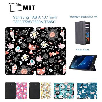 Cute Cat Trifold Flip PU Leather Case For Samsung Galaxy Tab - Magnetic Cover