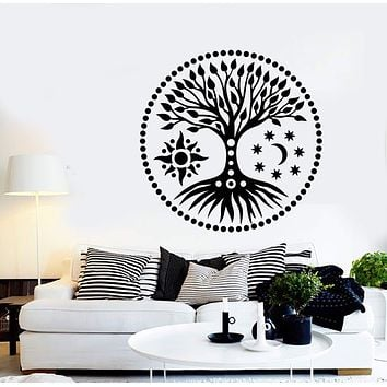 Vinyl Wall Decal Ethnic Tree Of Life Sun & Moon Stars Stickers (2858ig)