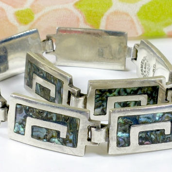 Vintage Taxco Mexico Silver Abalone Inlay Semi Greek Key Pattern Link Bracelet Stamped With Hallmark LVR Taxco Mexico 925 TV-08 VGC Nice!