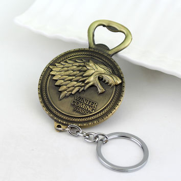 2 Colors New Winter Is Coming Game Of Throne Bottle Opener Keychain House Stark Key Chain Ring For Beer Opener Kitchen Tools