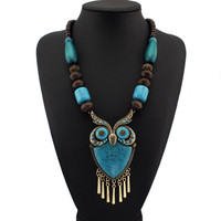 Tibetan Boho Wood Owl Necklace
