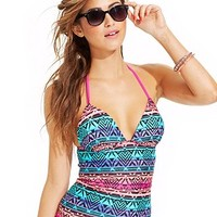 Hula Honey Printed Push-Up Tankini Top & Ruffled Skirted Swim Bottom