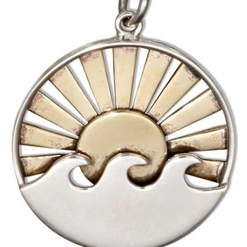 Sterling Silver Double Layer Wave Pendant With Bronze Sun And Rays