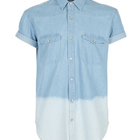 BLUE DENIM DIP DYE SHORT SLEEVE SHIRT - View All - New In - TOPMAN