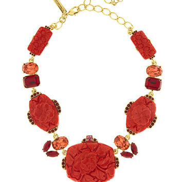 Oscar de la Renta Floral Carved Resin Necklace, Cayenne
