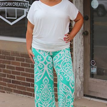 Mint & White Damask Print Palazzo Pants ~ Sizes 12-18