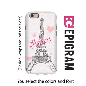 Personalized iPhone 6s case, Eiffel Tower iPhone 6 plus case, Paris iPhone 5c case, iPhone 5s case, 3D wrap around case, gift for her