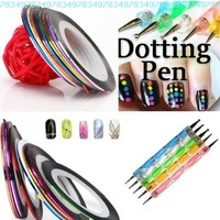 5 X 2 Way Marbleizing Dotting Pen Set for Nail Art Manicure Pedicure+10 Color Rolls Nail Art Decoration Striping Tape:Amazon:Beauty