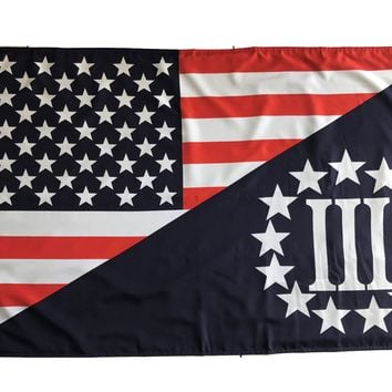 Tactical Heavy Duty Double Sided 5'x3' Outdoor USA Flag / Three Percenter