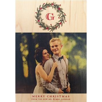 Monogram Wreath Family Photo Card on Real Wood Veneer | Printed with Your Family Photo and Personalized Text