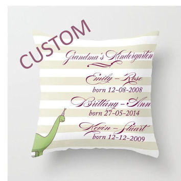 Custom Decorative Throw Pillow Cover - Different sizes, Indoors, Outdoors, Name, Date, Classic, Custom, Grandma, Kids, Grandkids, Gift