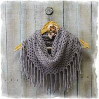 Scarf, scarves, infinity scarf, knit scarf, scarves for women, knit scarves, CHIC FRINGE Grey | SC5