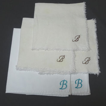 Set of 5 Vintage Mis-Matched Dinner Napkins with Hand Embroidered Monogram B, Hand Embroidery & Machine Embroidery, Upcycle Supply
