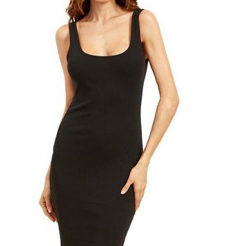 Black Basic Ribbed Dress Double Scoop Women Brief Tank Dresses Sleeveless Sexy Sheath Midi Dress