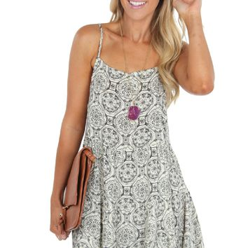 Tiered Lace Up Dress Black